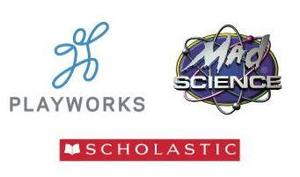 Logos for Playworks, Scholastic, & Mad Science