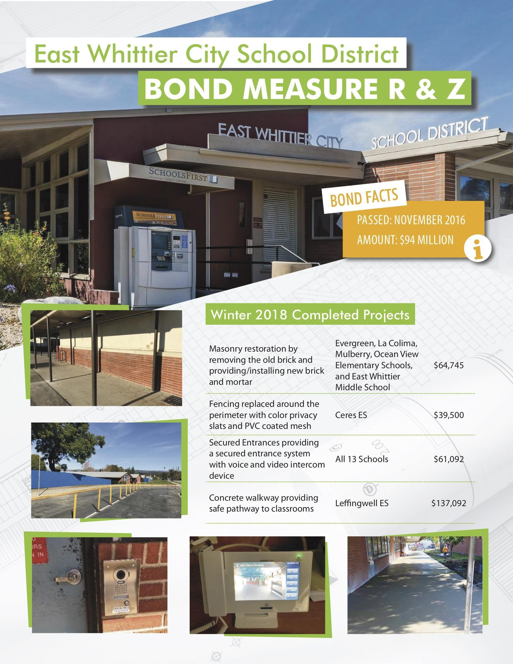 Page 1 of the March 2019 EWCSD Bond Newsletter