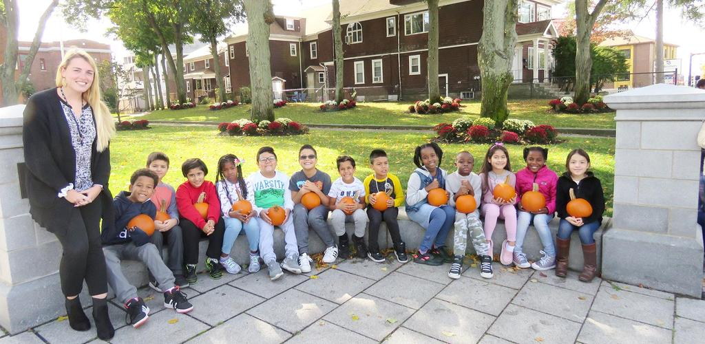 Parlin students hold some of the pumpkins that were donated to the school on Oct. 16