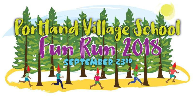 Village Fun Run: trees and runners