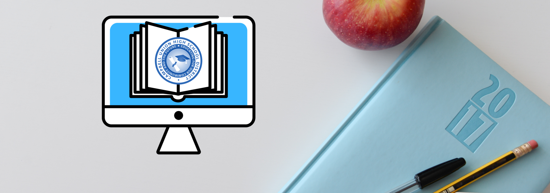 CUHSD Virtual Learning Academy logo and school supplies