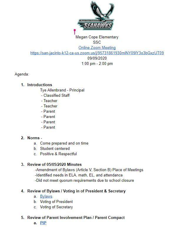 School Site Council 9-9-20 Agenda