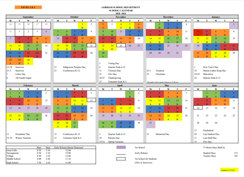Color Coded School Calendar (K-5) Thumbnail Image