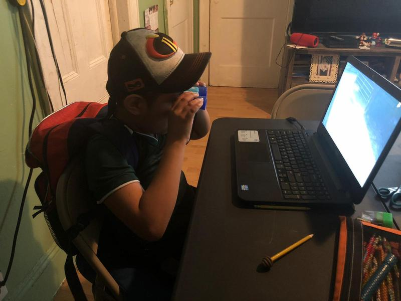 boy with binoculars looking at his laptop screen