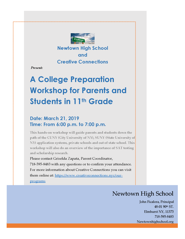 English flyer for the Creative Connections Workshop