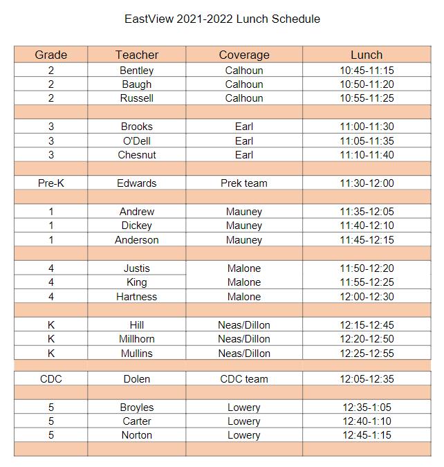 2021-2022 Lunch Schedule