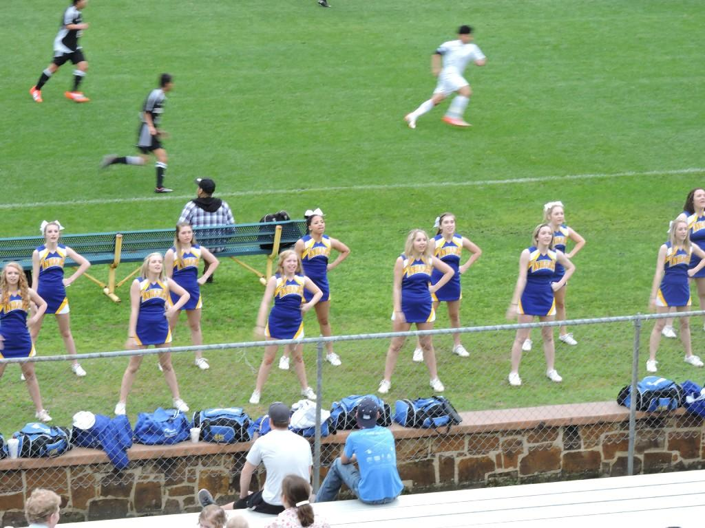 cheerleaders during a soccer game