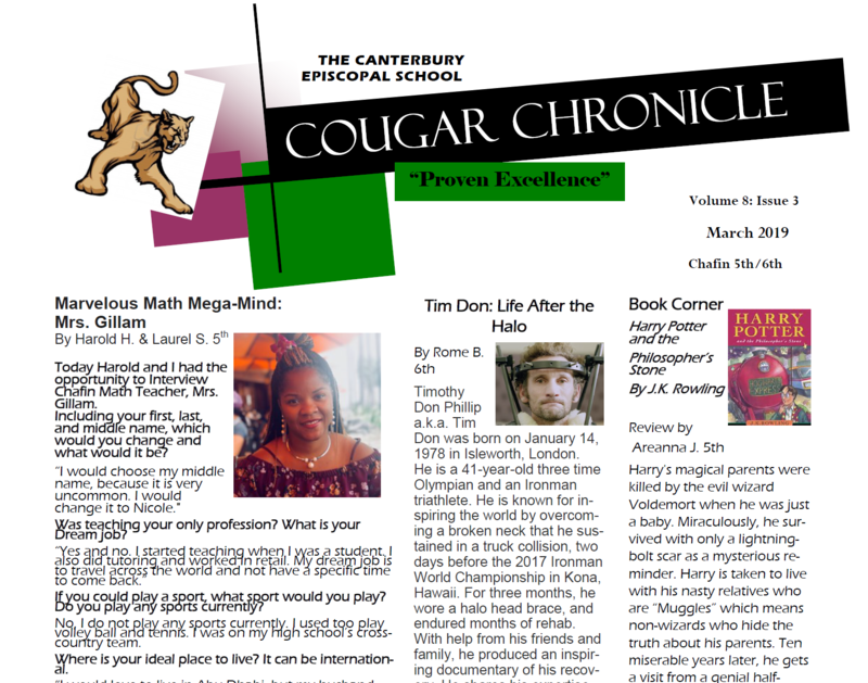 Third Addition of the Cougar Chronicle for 2018-2019 Thumbnail Image