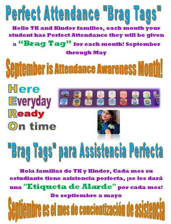 TK/K perfect attendance flyer