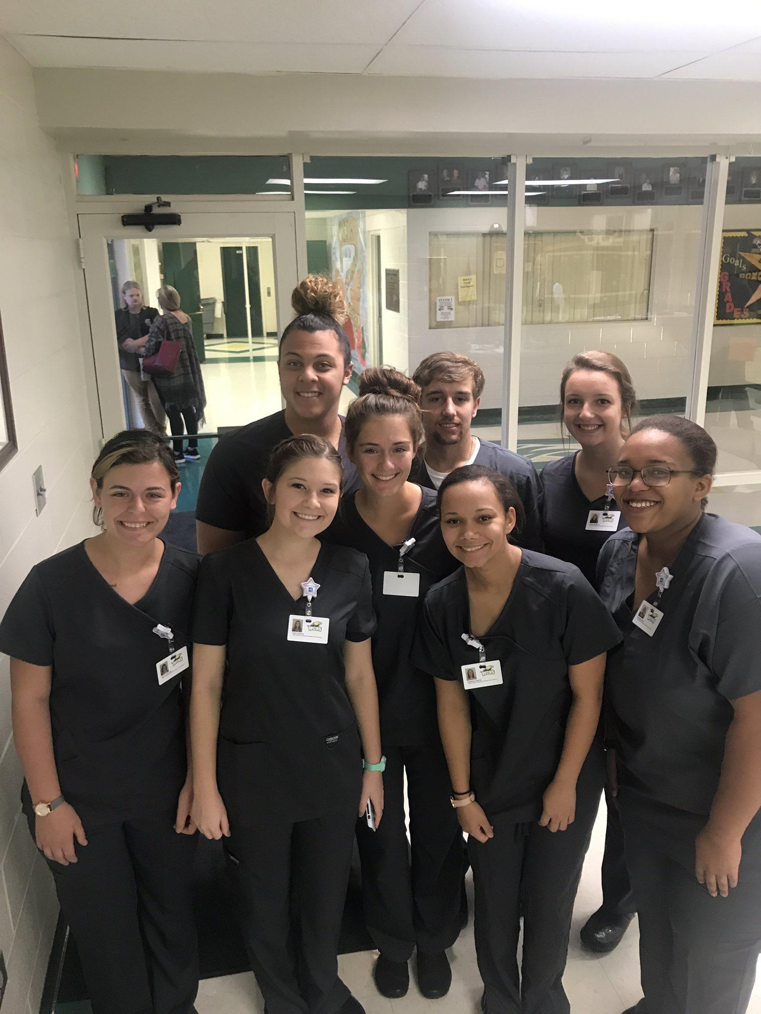 Mrs. Vicki Combs Nursing Fundamentals students (WCHS) dressed out in their scrubs for clinicals.