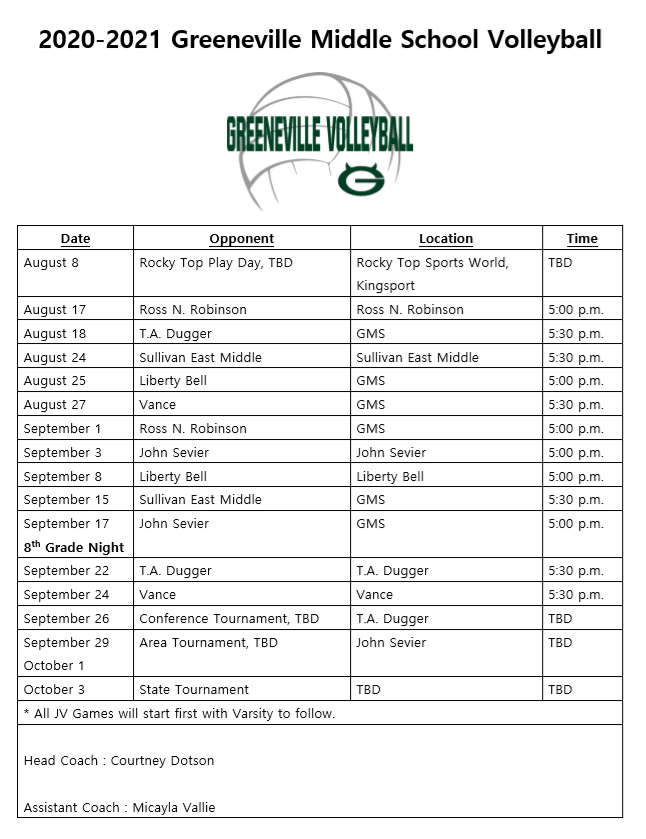 GMS Volleyball Schedule