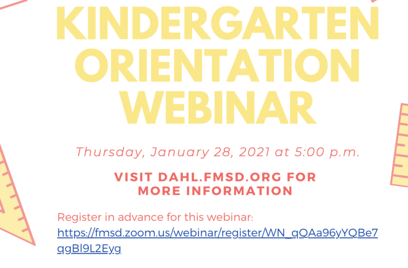 Kindergarten Orientation January 28th at 5:00 pm