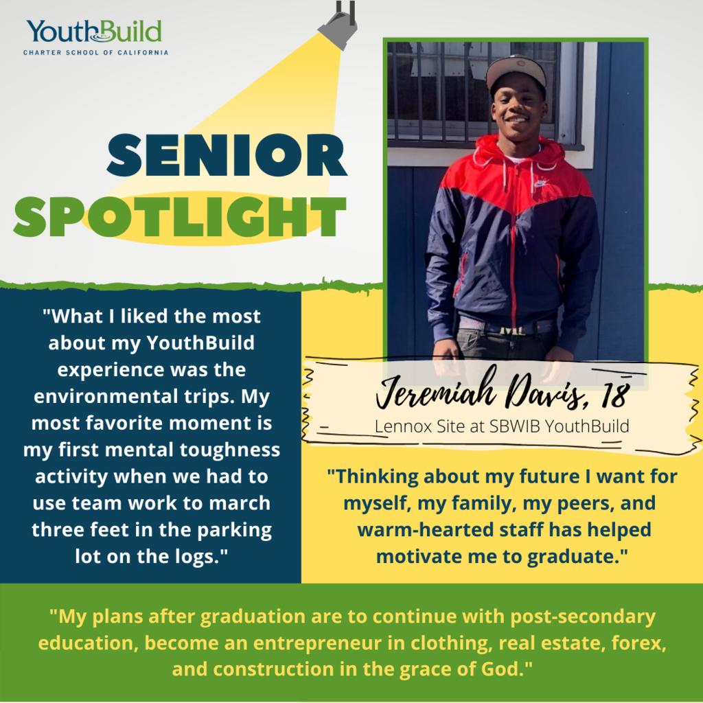 Senior Spotlight for graduate Jeremiah Davis