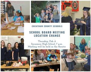 The Feb. 6 School Board meeting will be held at Sycamore High School.