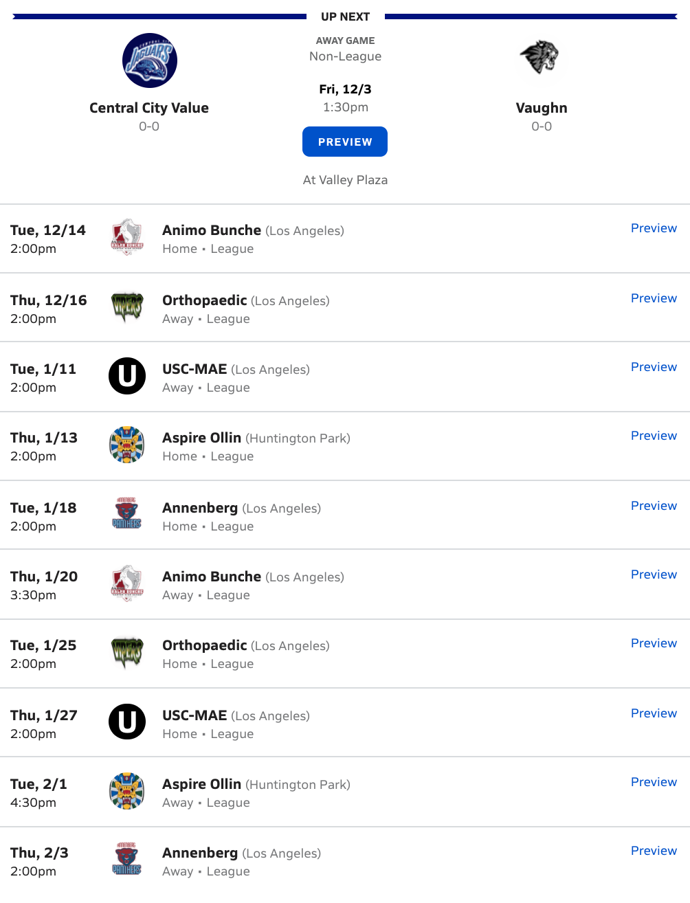 2021-2022 Boys Soccer Schedule