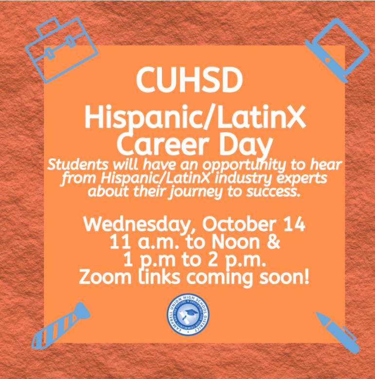 Hispanic / LatinX Career Day Oct 14th 11a-12p and 1-2pm