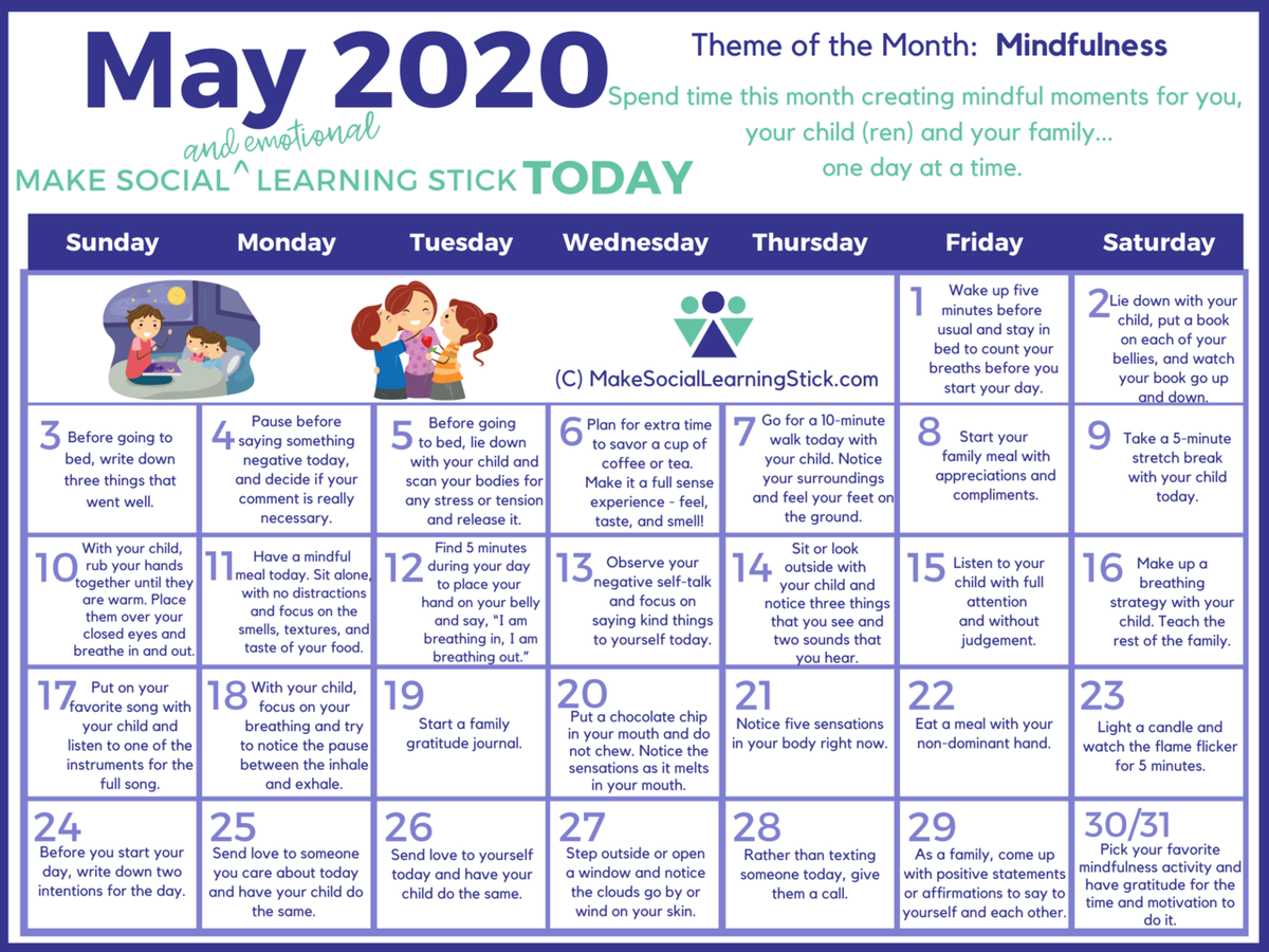 May Mindfulness Calendar