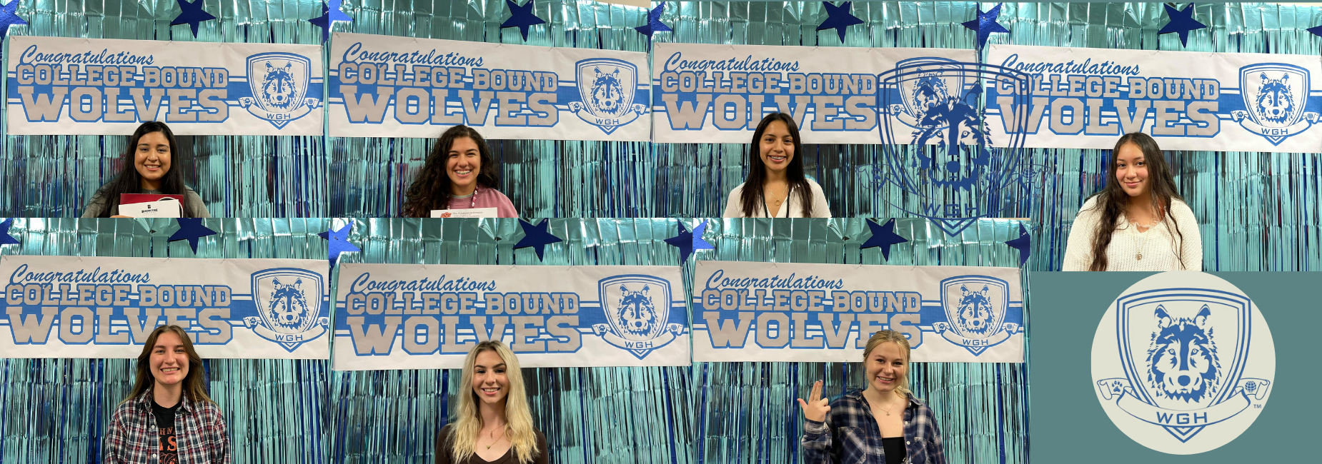 collage of teen girls standing before a banner that reads congrats college bound wolves