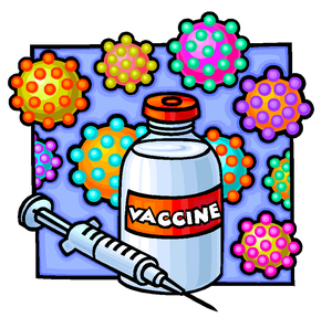 colorful image of vaccine bottle and syringe