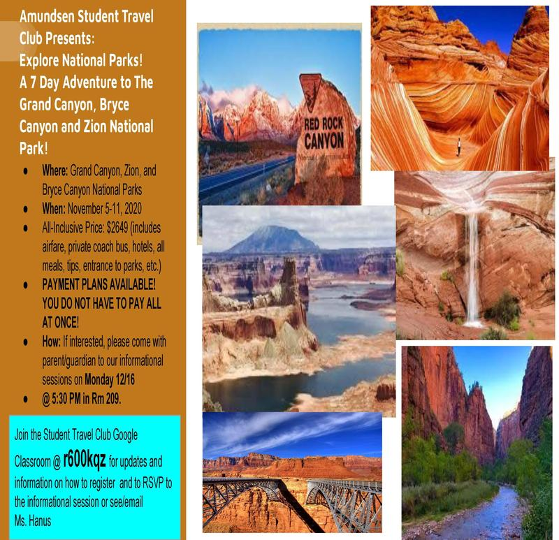 Amundsen Student Travel Club Plans 2020 Trip to the National Parks!  Parent Meeting Scheduled for 12/16! Featured Photo