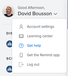 Image of the menu showing how to get to Remind help