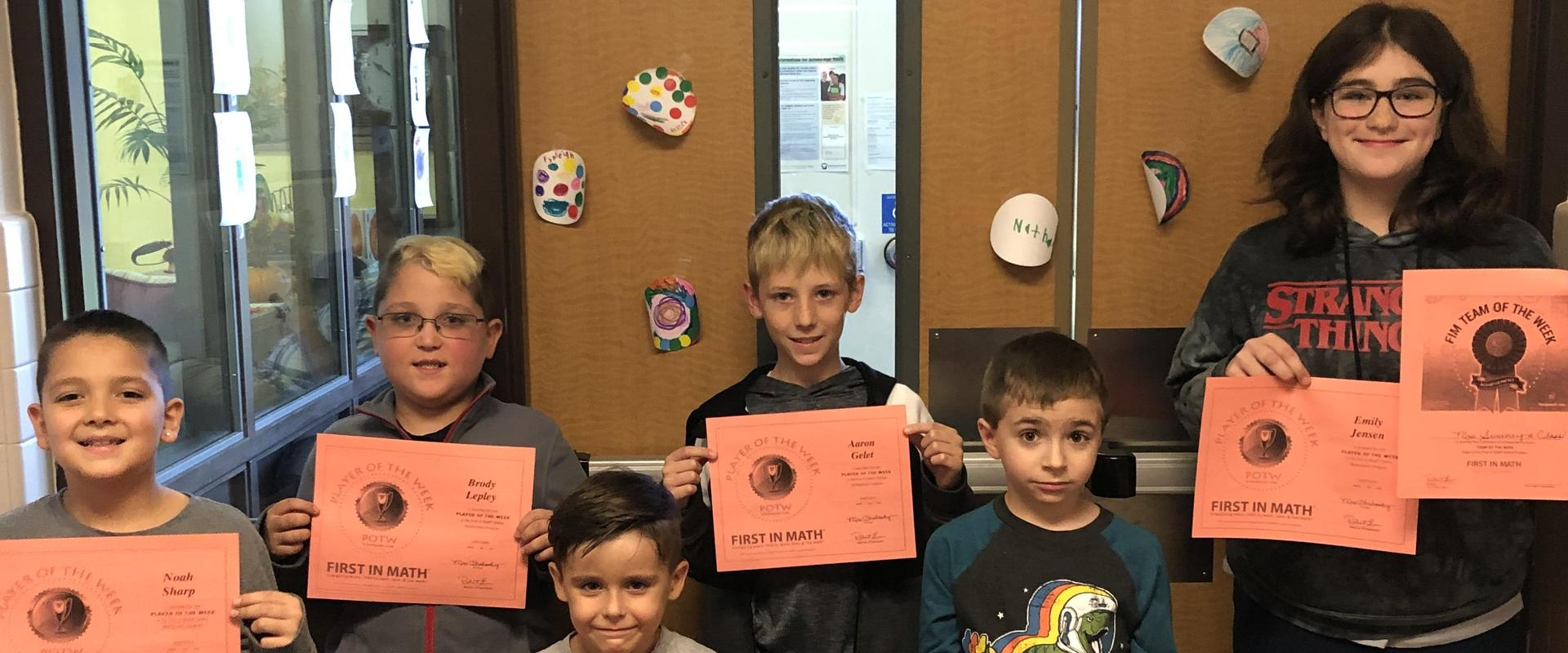First in Math Players of the Week
