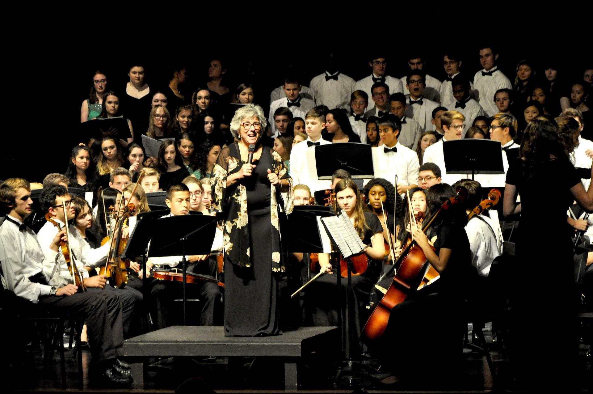 Kelly Kingett and the JP orchestra at the St. Cecilia concert