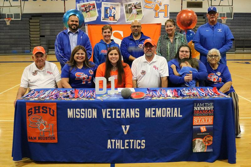 VMHS shotput athlete, Charlee Salinas, signs with Sam Houston State University.