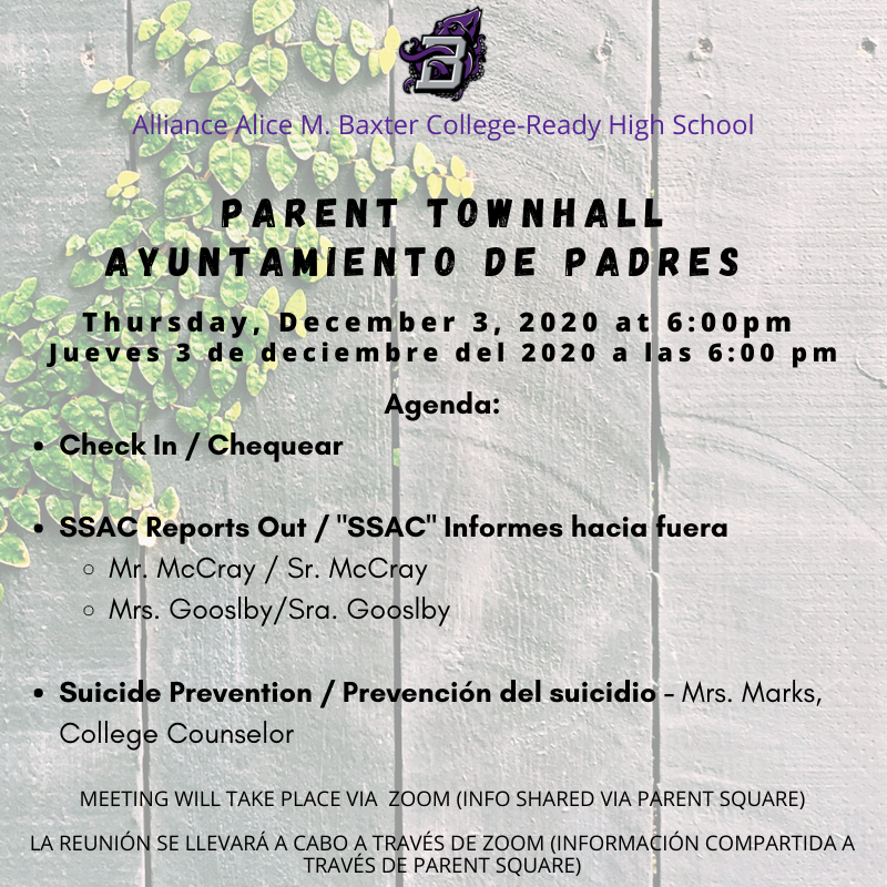 Parent Townhall: (Suicide Prevention) 12/03 at 6pm Thumbnail Image