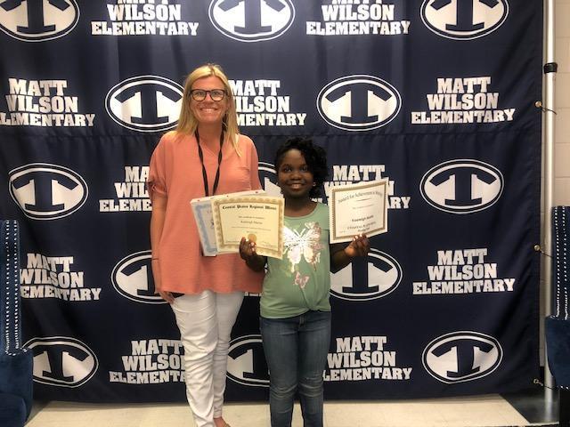Principal Howell with Kaeleigh Martin