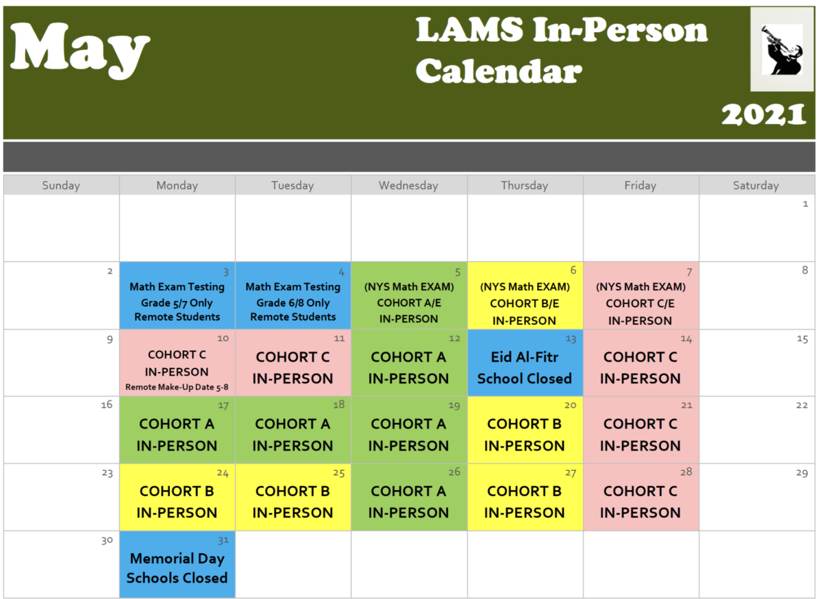 May in Person Cohort Calendar