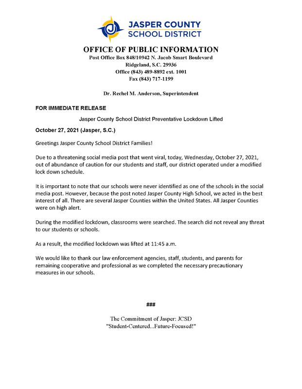 Jasper County School District Preventative Lockdown Lifted Press Release (October 27, 2021) Featured Photo
