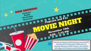 APTT Popcorn and PJs Movie Night