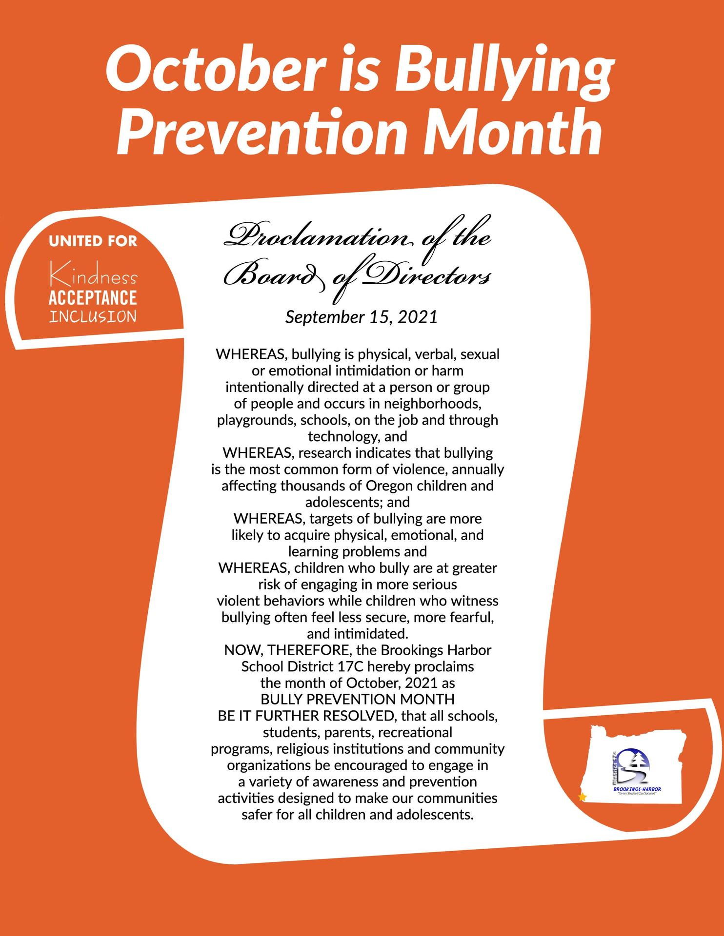 October Prevention Month: No Bullying