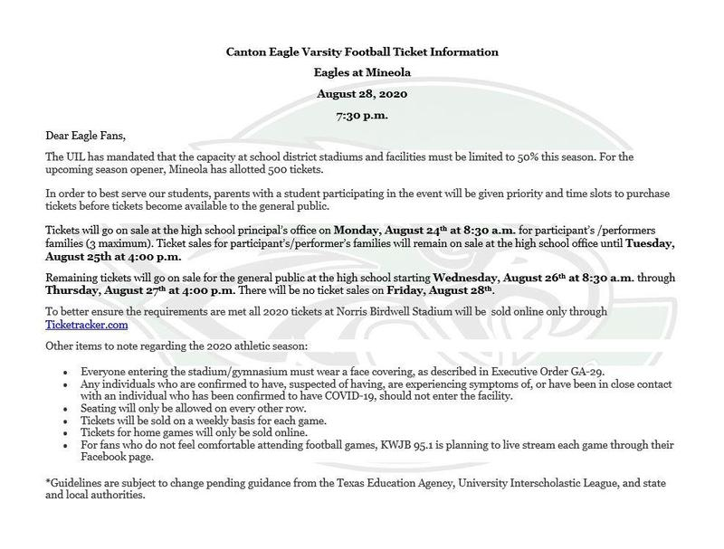 CHS Football Ticket Information Featured Photo