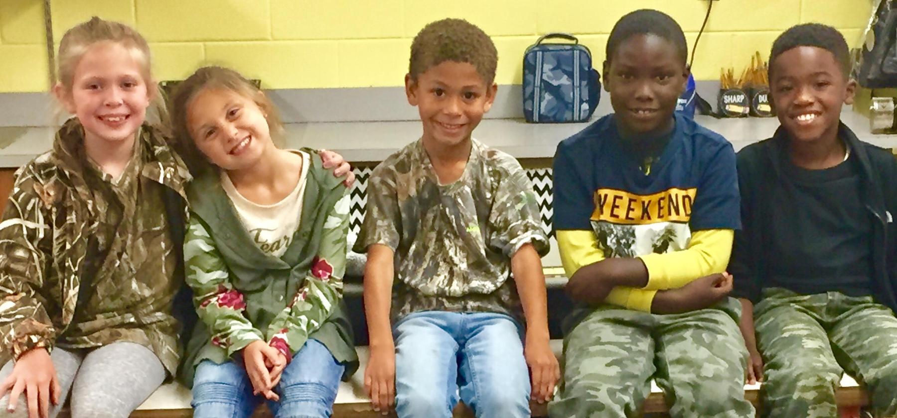kids wearing camo