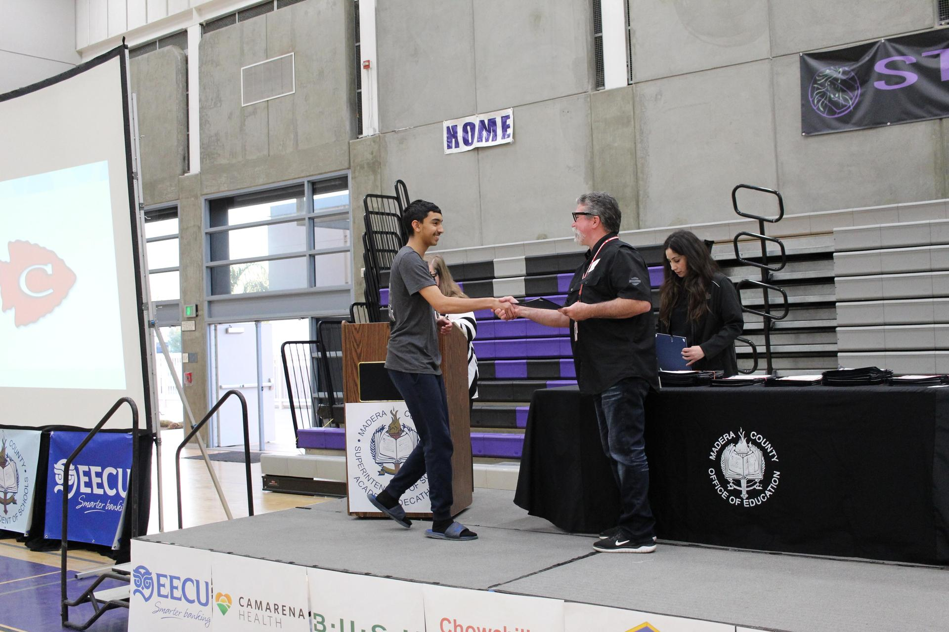 Jeevan Grewal gets participation award from CUHSD Superintendent Ron Seals