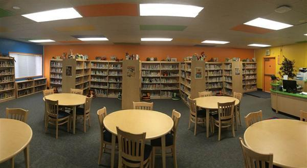 Picture of bookshelves and remodeled Library