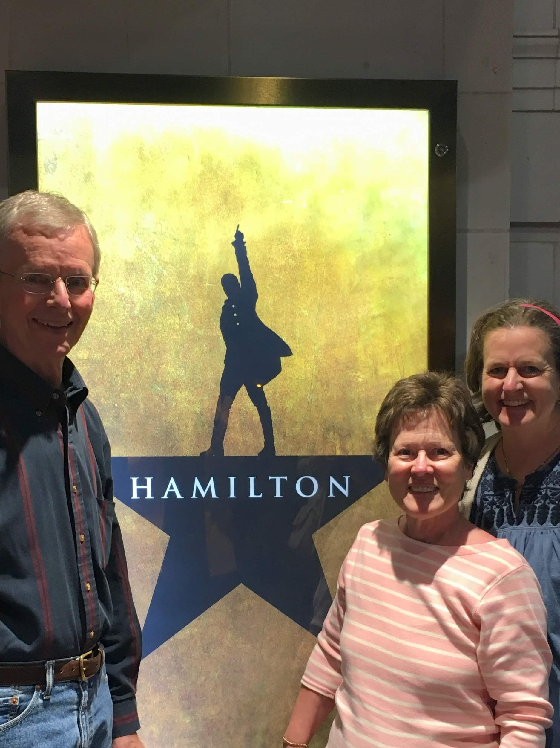 My parents & I were fortunate to find three tickets to Hamilton in London.