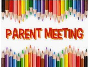 sharpened colored pencils border with PARENT MEETING