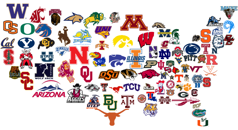 College Logos grouped together to form the shape of the United States of America.