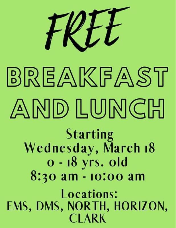 Free Breakfast and lunch for ages 0-18