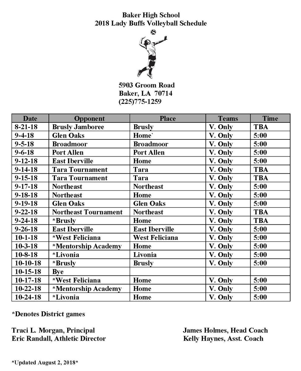 Baker High School 2018 Volleyball schedule