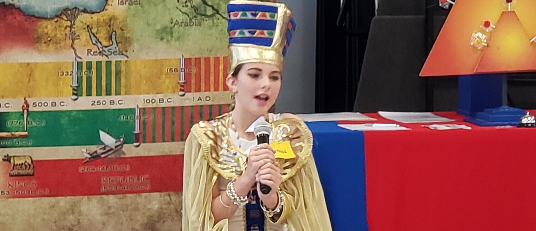 Student wearing Egyptian dress