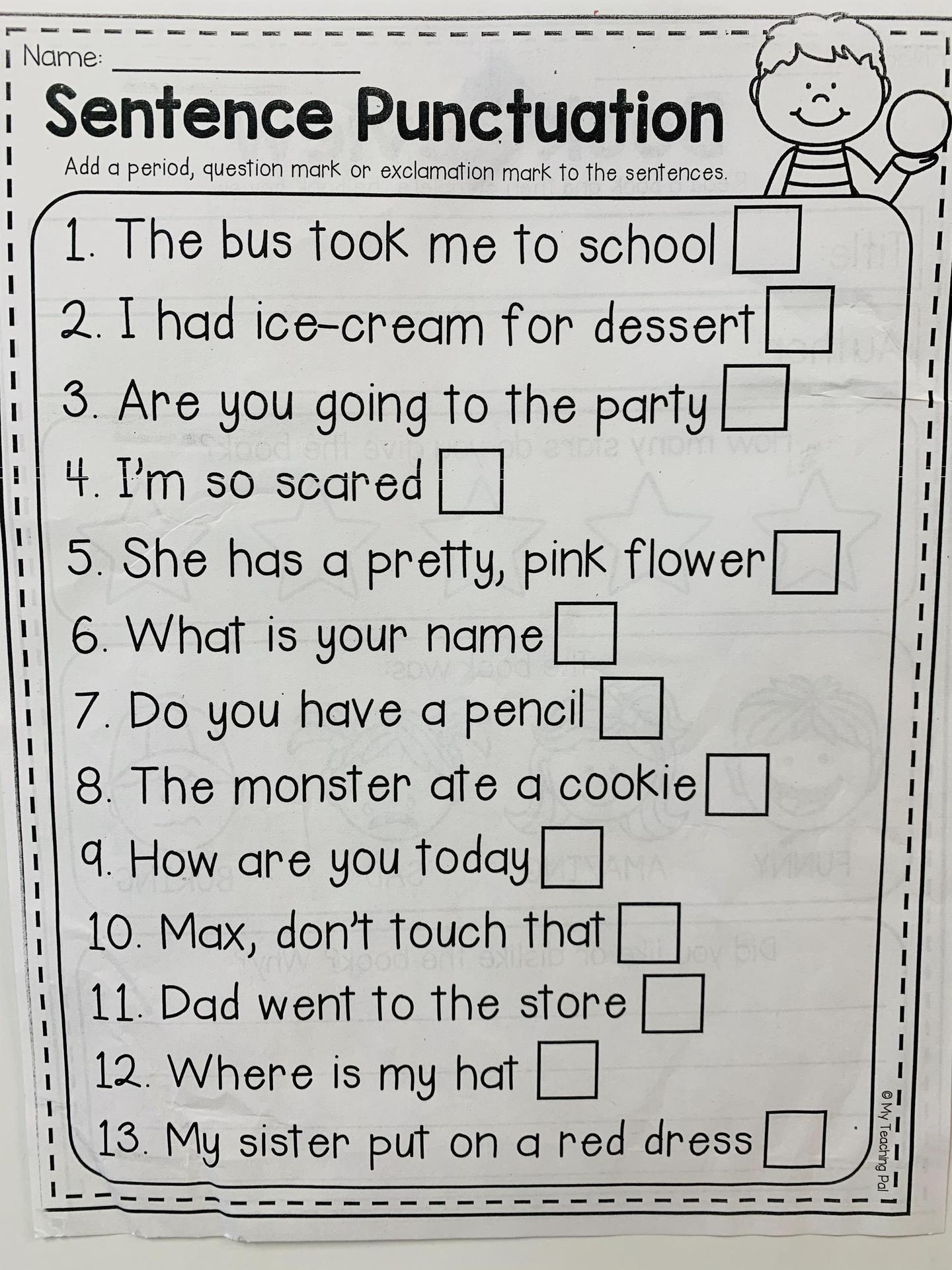 sentence punctuation