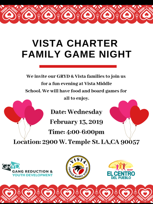 Vista Charter Family Game Night Featured Photo