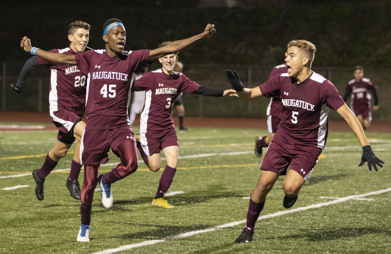Naugatuck boys play soccer against Crosby High School at home