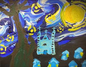 one of nearly 20 pieces of art produced by our students that will be on display in #Albany. Darlin a student  @nyise999  provides a sense of motion while mixing color & texture in his interpretation of #vanGogh's masterpiece Starry Night.