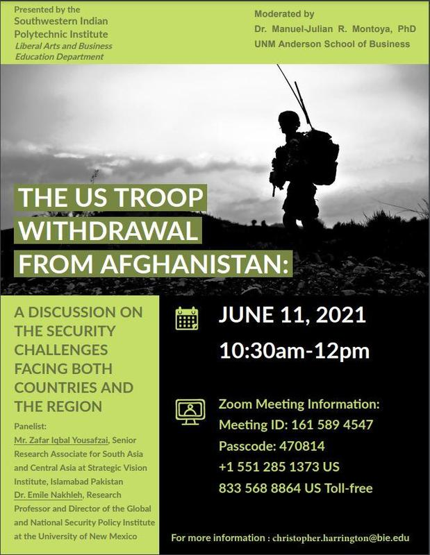 Lecture: THE US TROOP WITHDRAWAL FROM AFGHANISTAN:  A DISCUSSION ON THE SECURITY CHALLENGES FACING BOTH COUNTRIES AND THE REGION Featured Photo