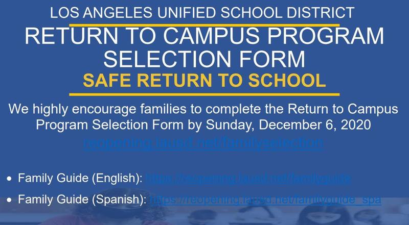 Return to Campus Program Selection Form - Safe Return to School Featured Photo